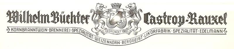 Buechter-Kornbrennerei Logo um 1906