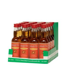 Kornbrennerei Büchter. Amaretto im praktischem Verkaufstray mit 20 Flaschen à 40 ml