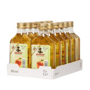 Kornbrennerei Büchter. Apfelkorn, im praktischen Verkaufstray mit 12 Flaschen à 200 ml