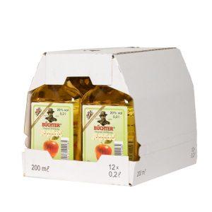 Kornbrennerei Büchter. Apfelkorn im Umkarton mit 12 Flaschen à 200 ml
