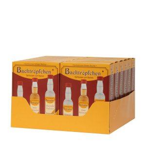 Kornbrennerei Büchter. Backtröpfchen 3 Flaschen a 40 ml. Umkarton mit 12 Verkaufspaketen.