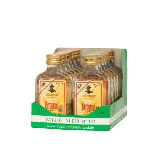Kornbrennerei Büchter. Unser Berggeist, Weizenkornbrand im praktischem Verkaufstray mit 12 Flaschen à 100 ml
