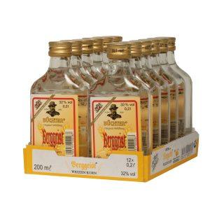 Kornbrennerei Büchter. Unser Berggeist, Weizenkornbrand im praktischem Verkaufstray mit 12 Flaschen à 200 ml