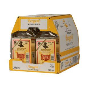 Kornbrennerei Büchter. Berggeist im Umkarton mit 12 Flaschen à 200 ml