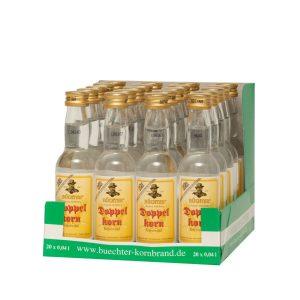 Kornbrennerei Büchter. Unser Doppelkorn Weizenkornbrand im praktischem Verkaufstray mit 20 Flaschen à 40 ml