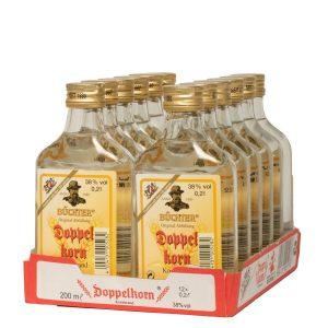 Kornbrennerei Büchter. Doppelkorn Weizenkornbrand im praktischem Verkaufstray mit 12 Flaschen à 200 ml