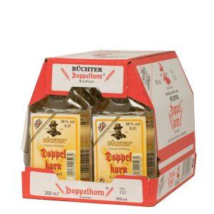 Kornbrennerei Büchter. Doppelkorn Weizenkornbrand im Umkarton mit 12 Flaschen à 200 ml