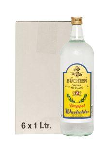 Kornbrennerei Büchter. Doppelwacholder im Umkarton mit 6 Flaschen à 1000 ml