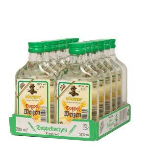 Kornbrennerei Büchter. Doppelweizenkorn, im praktischem Verkaufstray mit 12 Flaschen à 200 ml