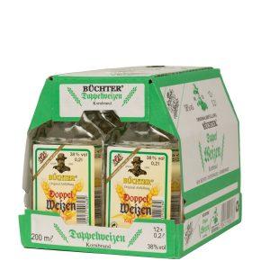 Kornbrennerei Büchter. Doppelweizenkorn, im Umkarton mit 12 Flaschen à 200 ml