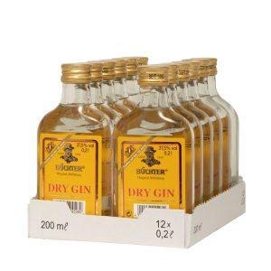 Kornbrennerei Büchter. Dry Gin, im praktischen Verkaufstray mit 12 Flaschen à 200 ml