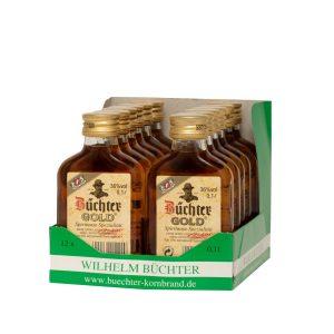 Kornbrennerei Büchter. Büchters Gold, Weinbrandverschnitt, im praktischem Verkaufstray mit 12 Flaschen à 100 ml