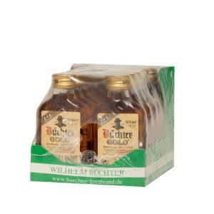 Kornbrennerei Büchter. Büchters Gold, Weinbrandverschnitt, im Umkarton mit 12 Flaschen à 100 ml