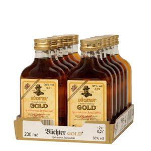 Kornbrennerei Büchter. Büchters Gold, Weinbrandverschnitt, im praktischem Verkaufstray mit 12 Flaschen à 200 ml