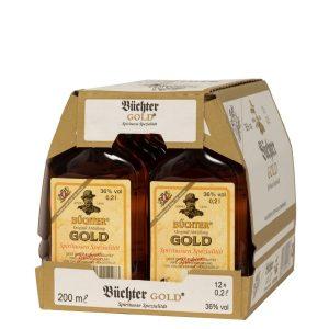 Kornbrennerei Büchter. Büchters Gold, Weinbrandverschnitt, im Umkarton mit 12 Flaschen à 200 ml