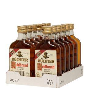 Kornbrennerei Büchter. Goldbrand Weinbrandverschnitt, im praktischen Verkaufstray mit 12 Flaschen à 200 ml