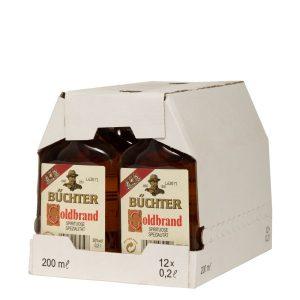 Kornbrennerei Büchter. Goldbrand Weinbrandverschnitt im Umkarton mit 12 Flaschen à 200 ml