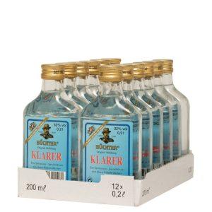 Kornbrennerei Büchter. Klarer, im praktischen Verkaufstray mit 12 Flaschen à 200 ml