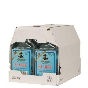 Kornbrennerei Büchter. Klarer im Umkarton mit 12 Flaschen à 200 ml