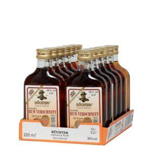 Kornbrennerei Büchter. Rum-Verschnitt, im praktischem Verkaufstray mit 12 Flaschen à 200 ml