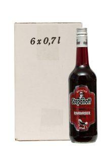 Kornbrennerei Büchter. Stepanoff Rhabarber Likör im Umkarton mit 6 Flaschen à 700 ml