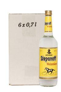 Kornbrennerei Büchter. Stepanoff Weizenkorn im Umkarton mit 6 Flaschen à 700 ml