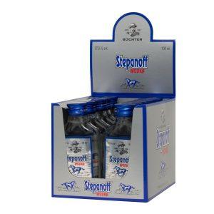 Kornbrennerei Büchter. Wodka Stepanoff im praktischem aufklappbaren Verkaufstray mit 12 Flaschen à 100 ml