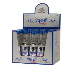 Kornbrennerei Büchter. Wodka Stepanoff im praktischem aufklappbaren Verkaufstray mit 20 Flaschen à 40 ml