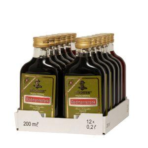 Kornbrennerei Büchter. Waidmannstrank, im praktischen Verkaufstray mit 12 Flaschen à 200 ml
