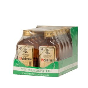 Kornbrennerei Büchter. Weinbrand im Umkarton mit 12 Flaschen à 100 ml