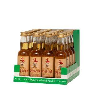 Kornbrennerei Büchter. Weinbrand im praktischem Verkaufstray mit 20 Flaschen à 40 ml