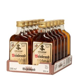 Kornbrennerei Büchter. Weinbrand, im praktischem Verkaufstray mit 12 Flaschen à 200 ml