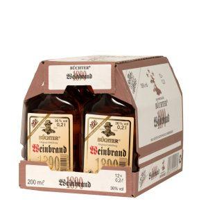 Kornbrennerei Büchter. Weinbrand im Umkarton mit 12 Flaschen à 200 ml