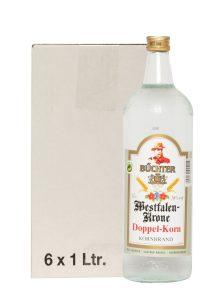Kornbrennerei Büchter. Westfalen-Krone Doppelkorn im Umkarton mit 6 Flaschen à 1000 ml