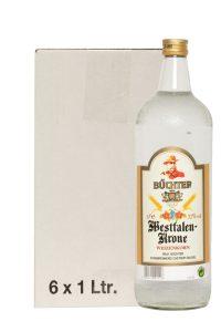 Kornbrennerei Büchter. Westfalen-Krone Weizenkorn im Umkarton mit 6 Flaschen à 1000 ml