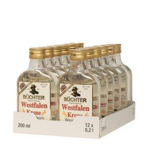 Kornbrennerei Büchter. Westfalen Krone Weizenkorn PET-Flasche , im praktischen Verkaufstray mit 12 Flaschen à 200 ml