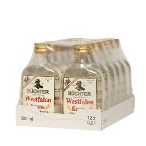 Kornbrennerei Büchter. Westfalen Krone Weizenkorn PET-Flasche im Umkarton mit 12 Flaschen à 200 ml